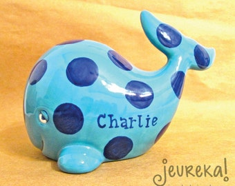 Personalized Whale Bank with Heart - Large Polka Dot