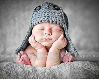 Aviator Baby Hat, Newborn Baby Boy Hat, Aviator Baby Hat, Crochet Baby Boy Hat, Earflap Boy Hat, Photo Prop, Infant Hats, Hats for Boys