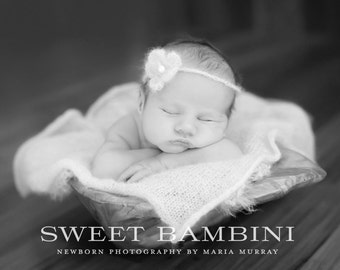 Crochet Baby Headband, Photo Prop, Baby Flower Headband, Mohair Baby Girl Headband, Newborn Girl Headband, White Baby Girl Headband