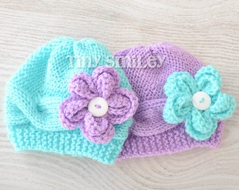 Twin Baby Hats, Twin Aqua and Lilac Flower Baby Hats, Twin Knit Hats, Twin Baby Outfits, Newborn Twin Hats, Twin Newborn Girl Hats