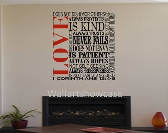 love 1 corinthians 13 4 8 bible verse subway art wall vinyl. Black Bedroom Furniture Sets. Home Design Ideas