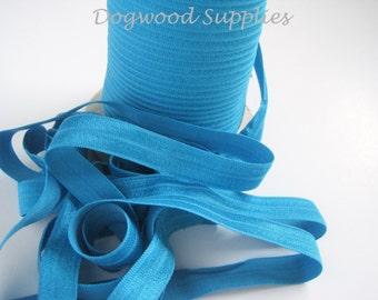 5 Yards FOE 5/8 Ocean Blue Elastic, Satin Elastic, Shiny Elastic, Baby Headband, FOE, Foldover Elastic, foe