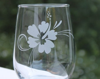 Hibiscus, Flower, wine glasses,  Etched Stemless Wine Glass, wine glass, birthday, Hibiscus Wine Glass, - 17oz,