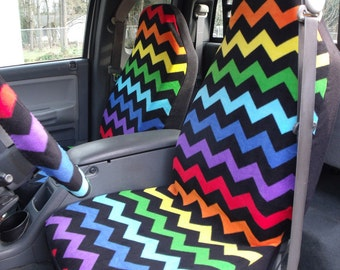 1 Set Of Muilt Color  Chevron Sest Covers and  1 Piece pf Steeling Wheel Cover Custom Made