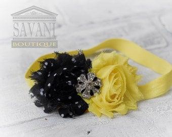 Yellow and black  headband, vintage headband, shabby chic roses headband, headband