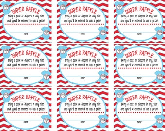 Thing 1 Thing 2 Twin Baby Shower Raffle Tickets & Sign
