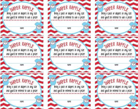 1 Thing 2 Twin Baby Shower Raffle Tickets & Sign