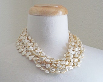 Under the Sea // Vintage 60s Necklace // 1960s Multi-Strand Faux Pearl Necklace