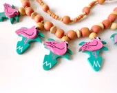 vintage flamingo necklace | 1980s