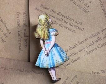 Alice In Wonderland Brooch Wooden Alice Little Girl Pin Laser Cut Wood