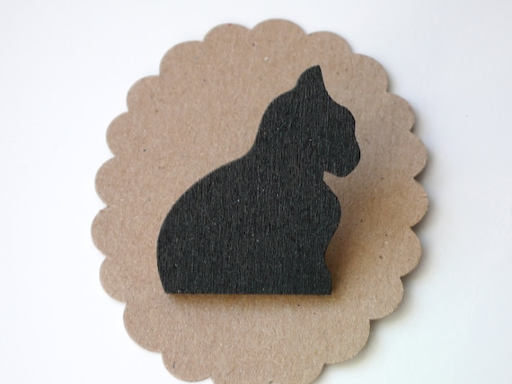 Gato negro joyas silueta broche láser corte madera por PaperDraper