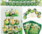Print Your Fiesta digital party set - Jungle Party Kit - invitation cards, cupcake wrappers, circle toppers, banner, food labels