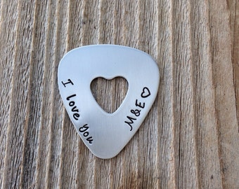 Guitar pick handstamped  gift for him or her  I love you with date hand stamped jewelry