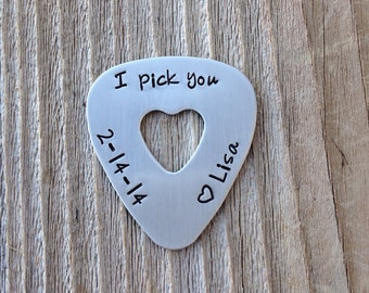 Guitar pick handstamped  gift for him or her I pick you with date hand stamped