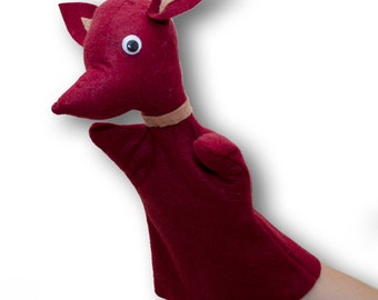 RED Handmade Cute Felt Fox Puppet - hand puppet