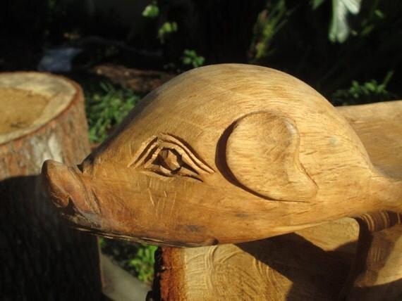 Hand Carved Wood Pig Serving Set Wooden Vintage Pigs Platter