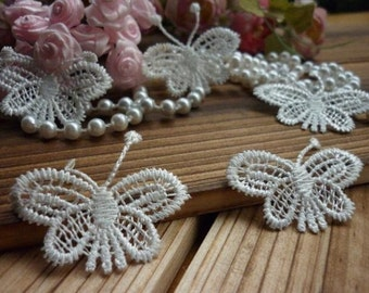 Venice Lace Trim Off White Butterfly Lace Trim 1.5 Inches Wide 2 Yards Costume Headware Supplies
