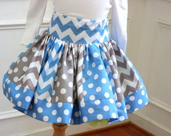 chevron skirt girls skirt chevron and polkadot skirt blue and gray chevron birthday skirt set birthday outfit baby blue gray chevron set