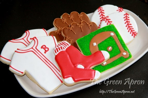 18 (1 and 1/2 dozen) Boston Baseball Themed  Decorated Sugar Cookies