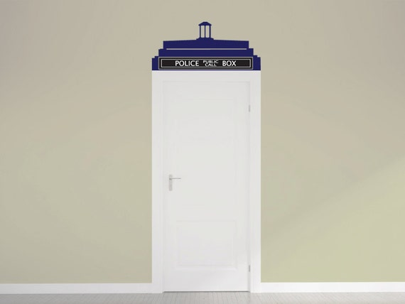 doctor who tardis call box door topper vinyl wall decal by. Black Bedroom Furniture Sets. Home Design Ideas