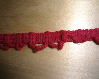 "2 1/2 Yards Red 3/4"" Vintage Yarn Trim BN10887"