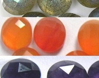 Lot of Mix 10 Pieces Labradorite,AMethyst,Prehnite,Carnelian,Rainbow Moonstone 13x13 MM Round Rose Cut Loose Gemstone Calibrated