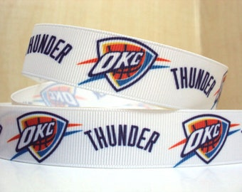 "Play-Offs Sale!!! OKC THUNDER 7/8"" Grosgrain Alternating Logo Craft Ribbon - 3-Yard Length"