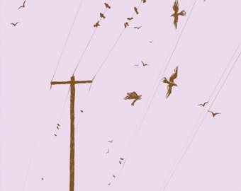 Birds on Wire - Postcard print