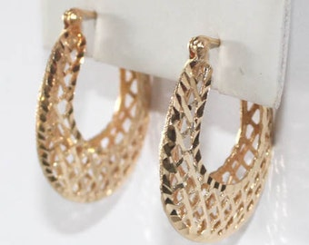 Basket Weave Pattern Hoop Earrings 14k yellow gold earring - 27mm height - sku 59411