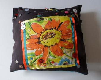 abstract flower printed  cushion