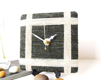 Pure Shetland Wool Desk Clock Small Wall Clock Dark Green Creamy - 100% British Shetland Wool