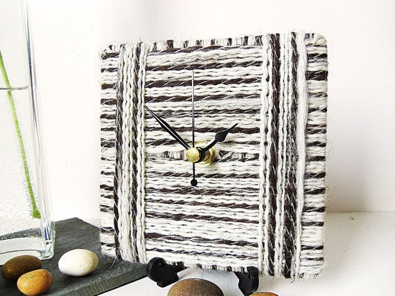 Wool Desk Clock / Small Wall Clock Cream and Dark Brown - Jacob Sheep Breed Undyed Yarn