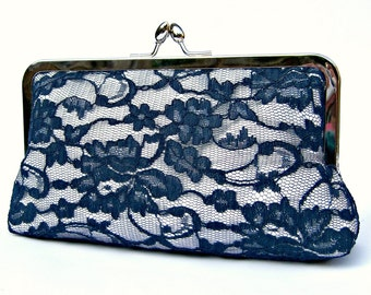 Lace bridal clutch bag, something blue navy wedding clutch, personalized bridesmaids clutch, evening clutch, clutch purse, custom clutch, uk
