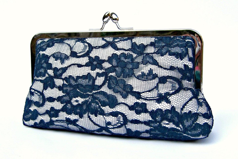 Lace Bridal Clutch Bag Something Blue Navy Wedding Clutch