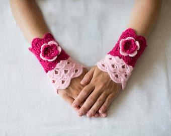 CLEARANCE SALE Crochet pink mittens with flower Romantic arm warmer Fingerless Mittens handmade crochet Winter accessories women teen
