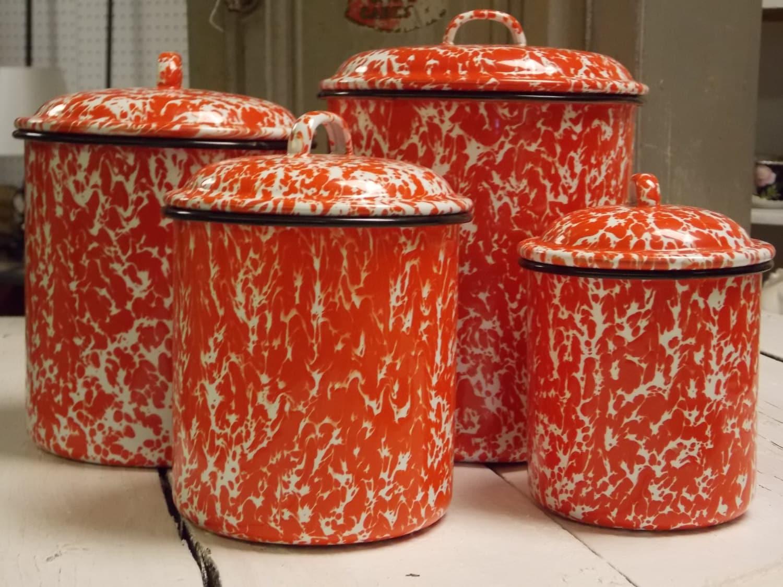 Enamelware Canister Set Vintage Red Marble Enamelware Retro