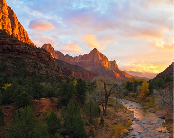 Landscape Photography, Nature Photography, Sunset, Rustic Decor, Country Decor, Living Room Decor Large Wall Art Zion National Park Wall Art