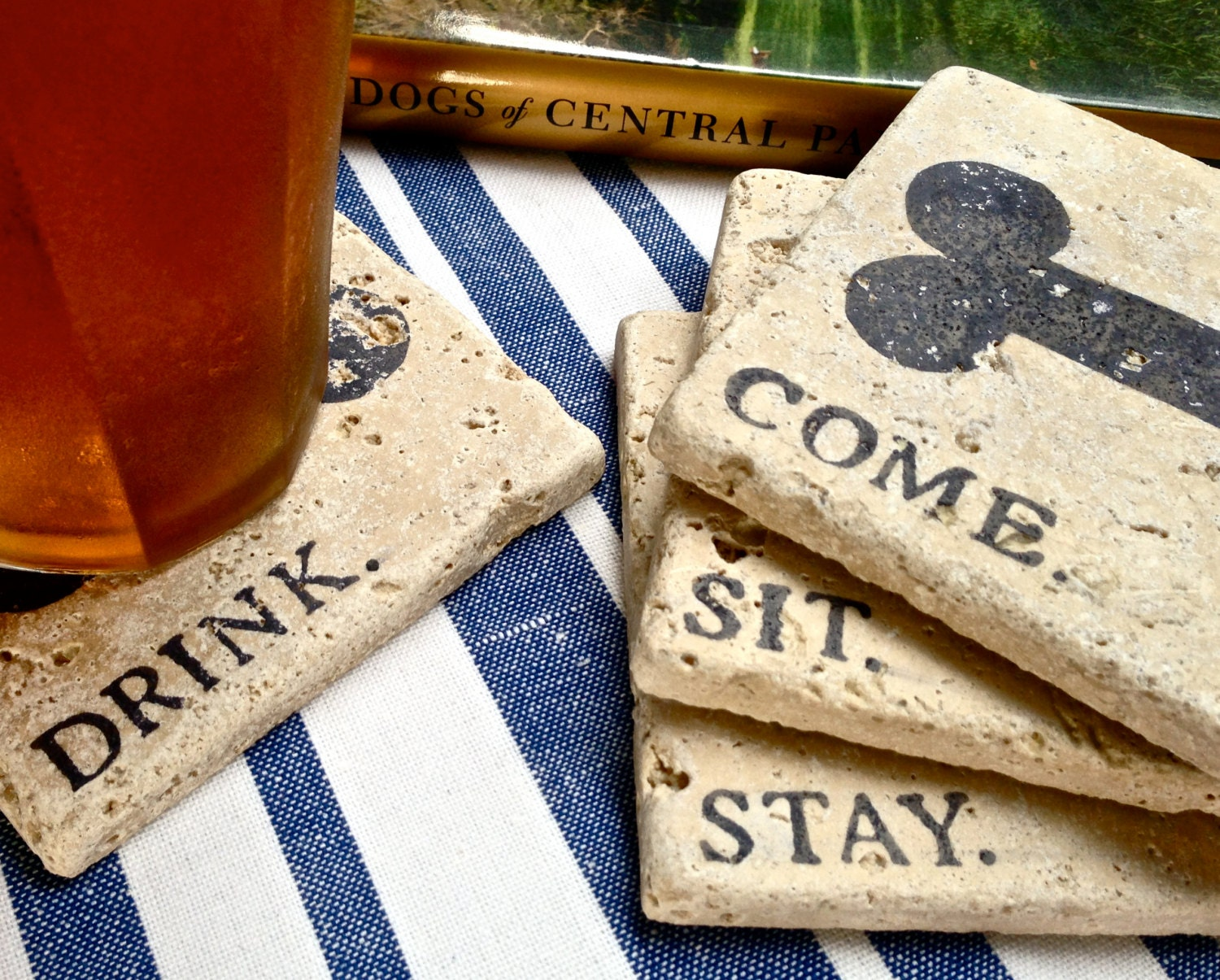 Come Sit Stay Drink Natural Stone Coaster Collection 4
