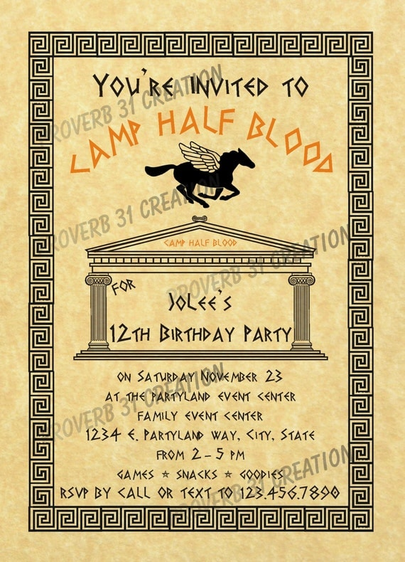 Percy Jackson Inspired Party Invitation By Waterwalkerevents
