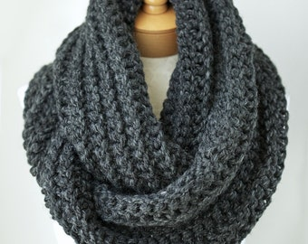 Knitting Pattern For Mens Infinity Scarf : Knit infinity scarf chunky knit scarf in Taupe by HouseofPikaPika