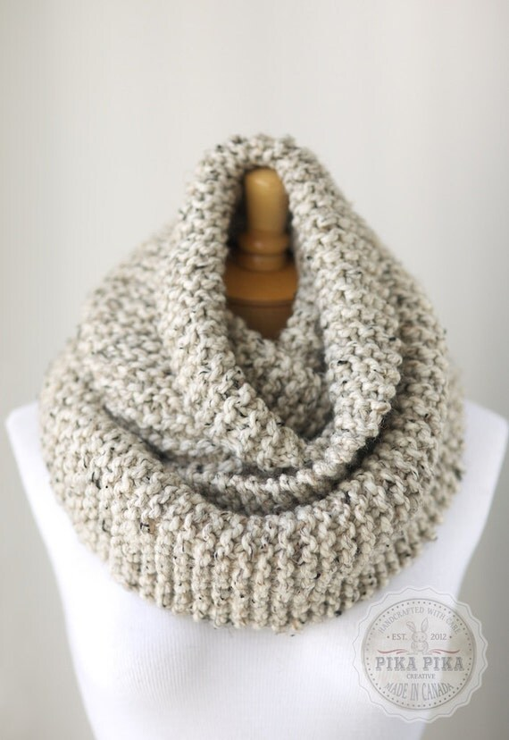 Chunky infinity scarf in Oatmeal Brown knit by HouseofPikaPika