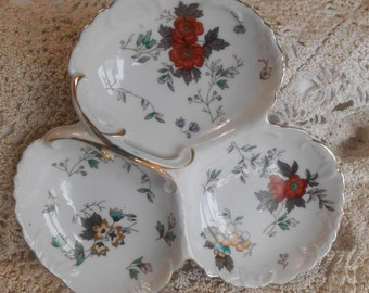 Vintage Three Section White Porcelain Serving Plate  Dish with Floral design