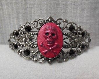 Skull & Crossbones Cameo Bracelet. Hand Painted Pink Pearl Shimmer Black Swarovski Crystal Accents. Pirate Hallloween