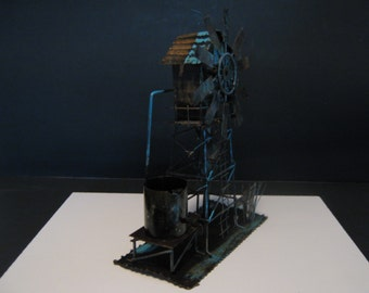 Copper/Tin Windmill Music Box With Blue Highlights