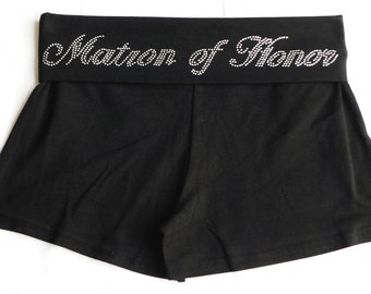 Maid of Honor  fold over waist shorts. Bride. Bride to be. Bridesmaid. Team Bride. Bridal Party.