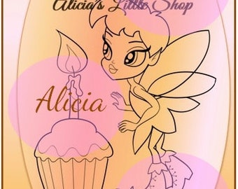 Fairy with a cupcake Digital Stamp