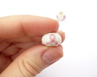 Glass Pink Ribbon Bead- Set of 4 -264-