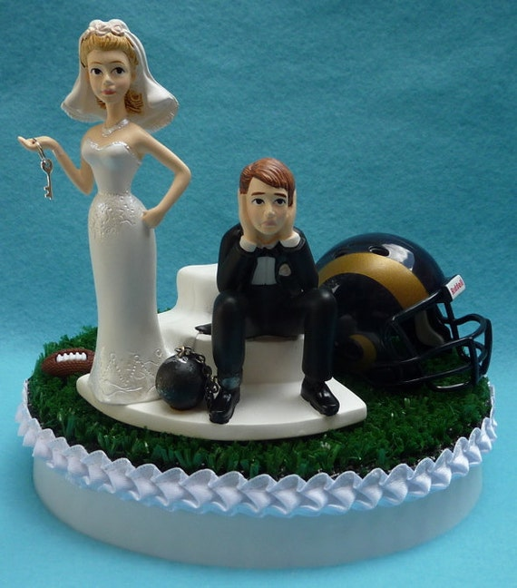 wedding cake topper st louis rams saint football themed ball and