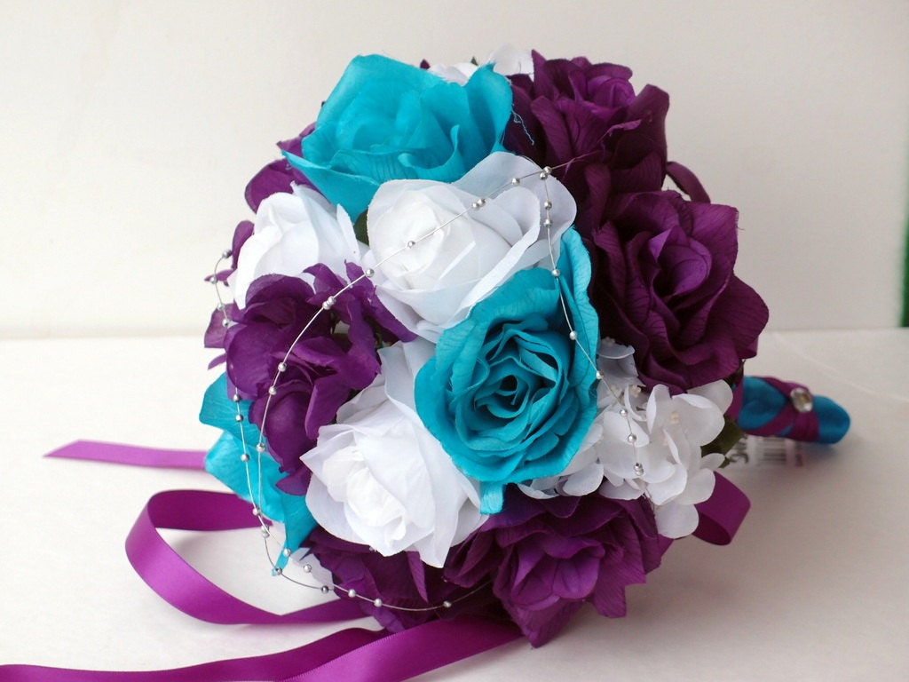 Wedding Bouquet Purple White Turquoise And By AngelIsabella