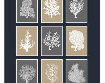 Underwater Coral Home Decor Prints 5x7 Set of 9 (Colors featured: Graphite & Sisal--over 700 colors to choose from)